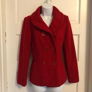 Forever 21 Red Double Breasted Pea Coat